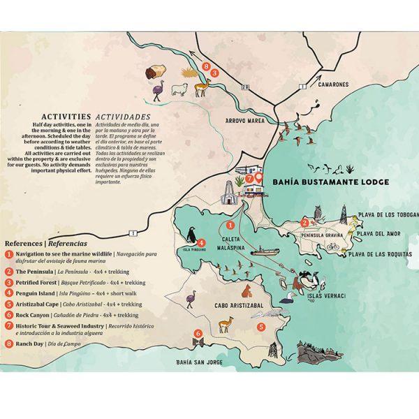 Mapa de Actividades en Bahia Bustamante